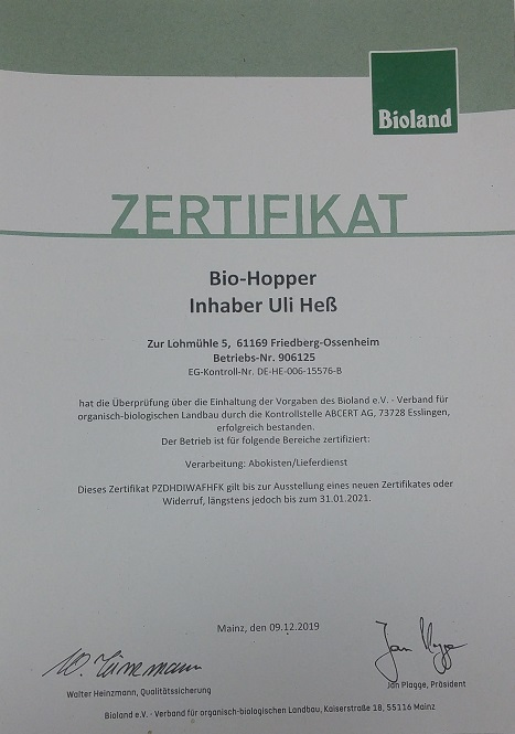 BIO-HOPPER wird regelmäßig von Bioland kontrolliert